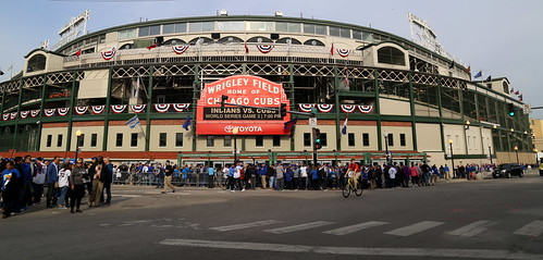 Fans descend on Wrigley Field for World Series Game 3.