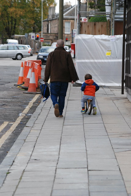 a toddler on a balance bike can easily keep pace with an adult walking