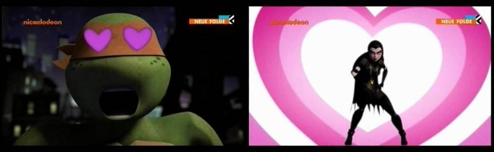 Nach Donatello (in April), Leonardo (in Karai) und Raphael (in Mona Lisa) ist nun auch Mikey verliebt (in Shinigami) ...