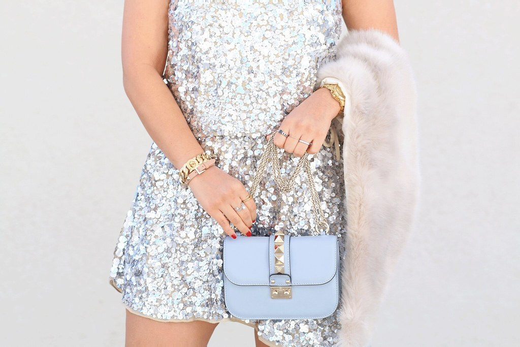 simplyxclassic, perfect #nye sequin dress, new years eve, glam, holiday dress, what to wear for new years eve, sequin dress, utility jacket, valentino bag