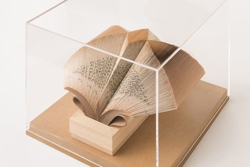 Perspex Theca - Wig Diamond Folded Book Sculpture by Crizu