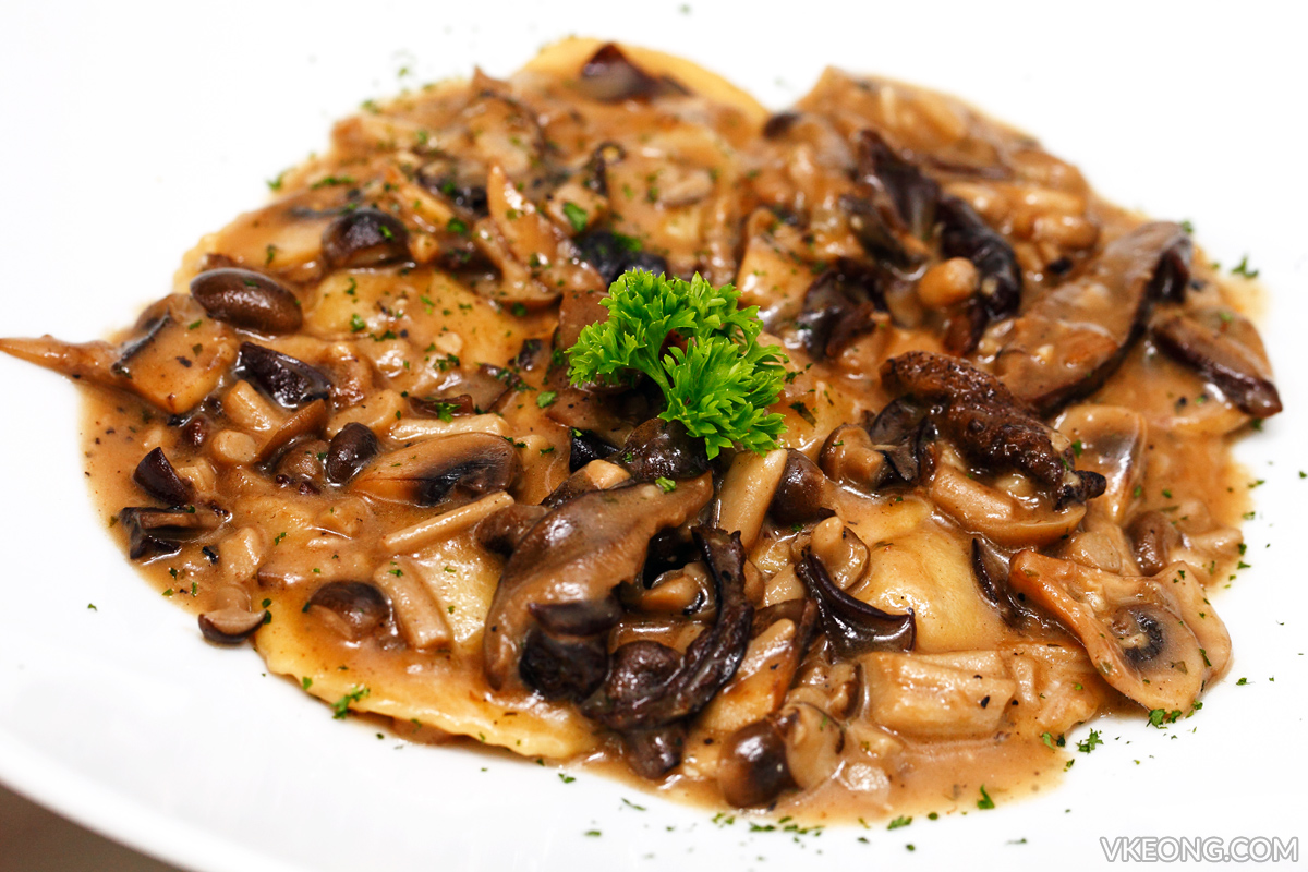 Homemade Ravioli Pasta with braised beef