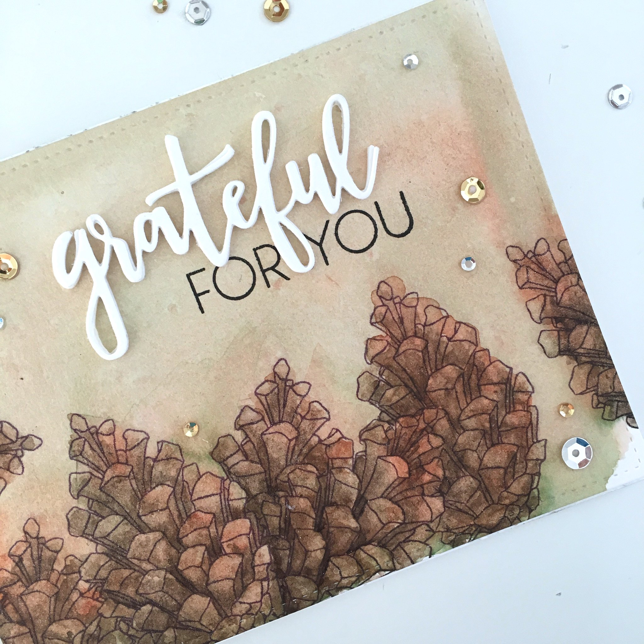 Grateful for you - watercolor and Concord & 9th stamps and dies