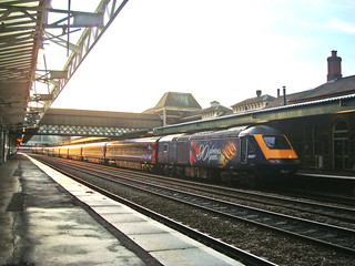 Diesel Intercity 125 train with locomotive in special '90 Glorious Years' livery at Newport