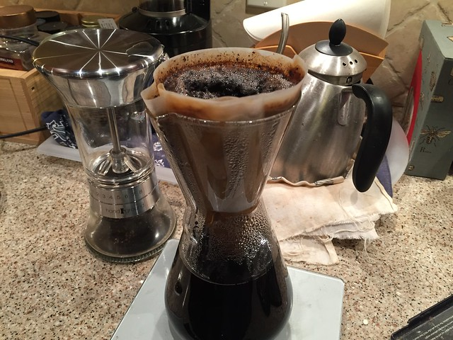 Brewed using Chemex