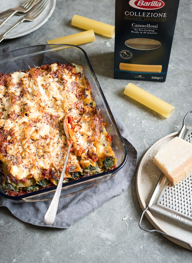 Spinach and ricotta cannelloni with goat cheese