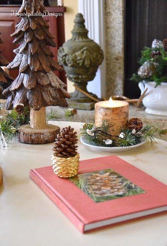 Woodland Christmas Vignette - Pottery Barn Luminara Birch Candle - Housepitality Designs