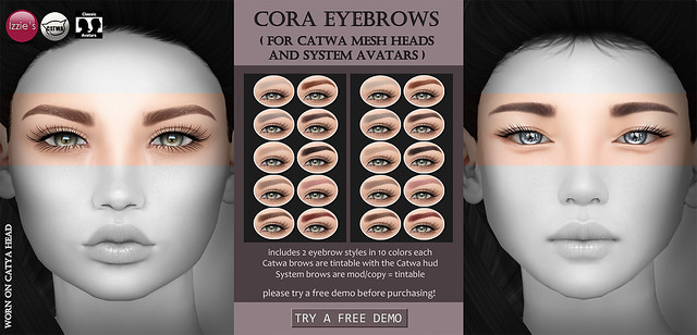 Cora Eyebrows (for Catwa and System Heads)