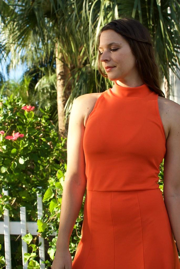 Safety Orange Ponte | Named Beatrix Skater Dress