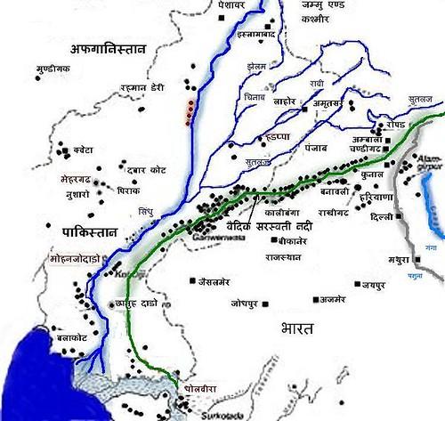 सरस्वती नदी का मैप