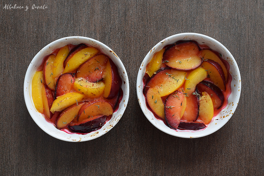 Healthy plum crumble