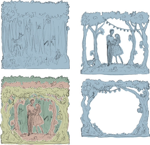Woodland Wedding sketches