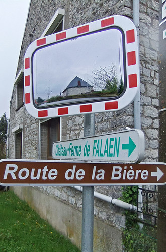 Signs indicating Route de la Biere and Chateaux-Ferme near Dinant, Belgium