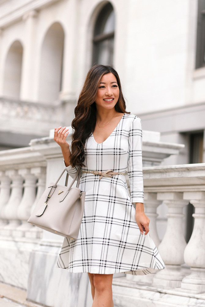 fit flare A line dress prada saffiano cuir classy office outfit