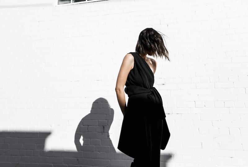Givenchy one shoulder trend jumpsuit all black street style inspo fashion blogger Antigona minimal modern legacy yoox (2 of 13)