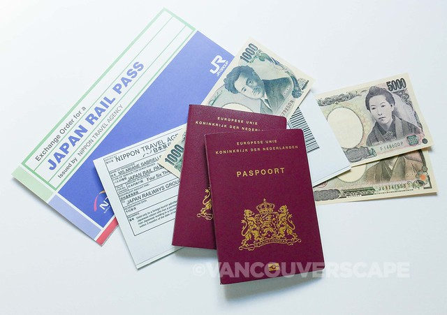 Japan JR, money, passports
