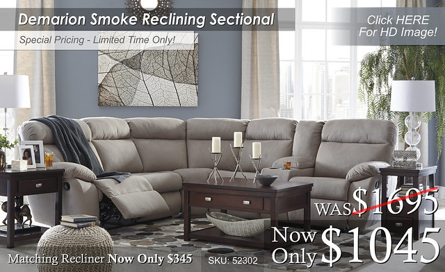 Demarion Smoke Reclining Sectional