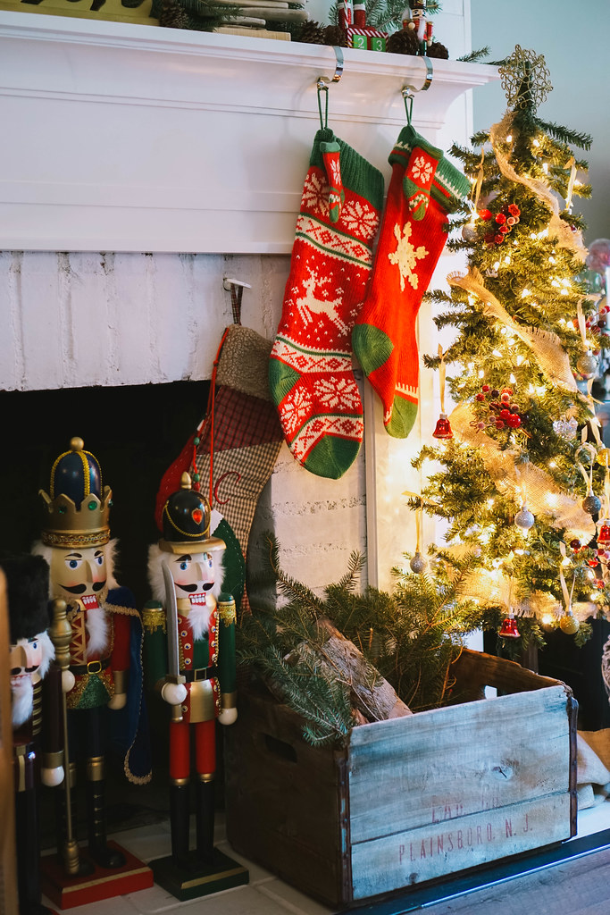 Nutcrackers Fireplace Christmas Stockings |Traditional Modern |Transitional Christmas Living Room Decor | Holiday Decorations