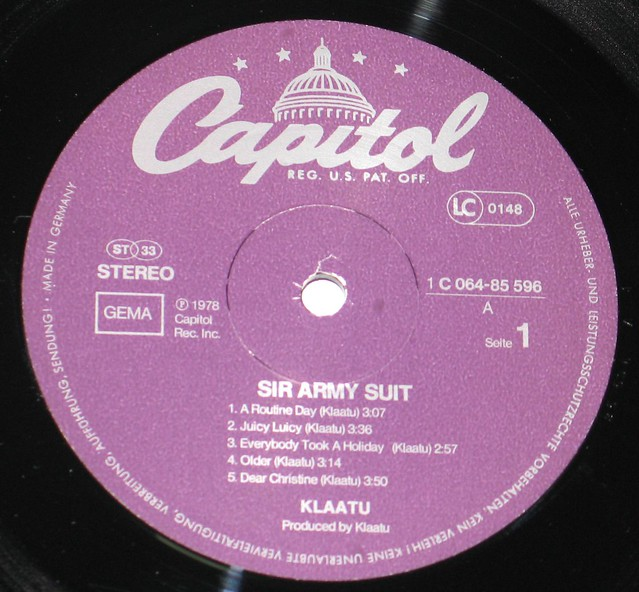 "Klaatu Sir Army Suit 12"" vinyl lP"