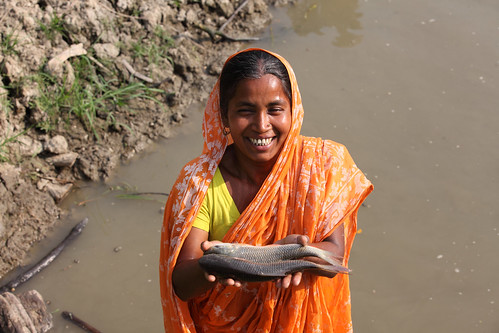 Woman showing fish caught from her pond in Khulna, Bangladesh. Photo by M. Yousuf Tushar, 2014