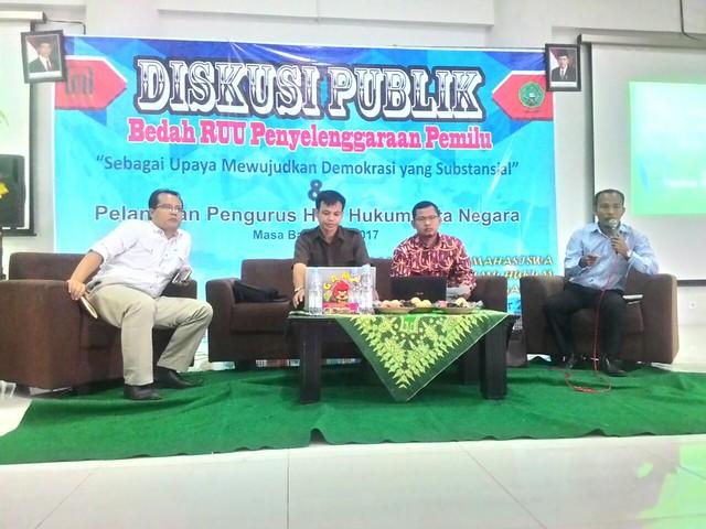 Susana diskusi publik Bedah RUU Penyelenggara Pemilu di IAIN Tulungagung(28/11)