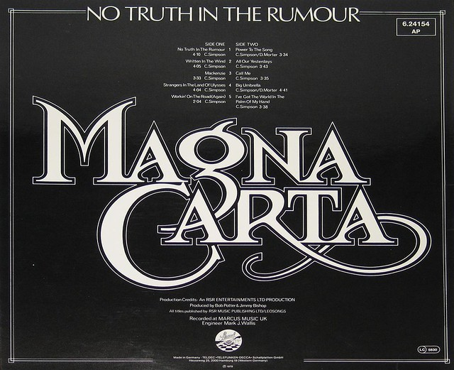 "MAGNA CARTA NO TRUTH IN THE RUMOUR 12"" vinyl LP"