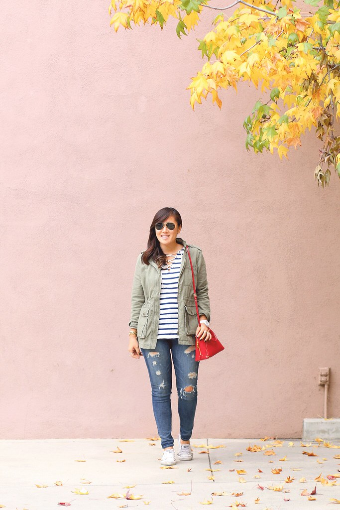 simplyxclassic, ootd, fashion blogger, casual outfit, lace up top, striped top, old navy, distressed denim, utility jacket