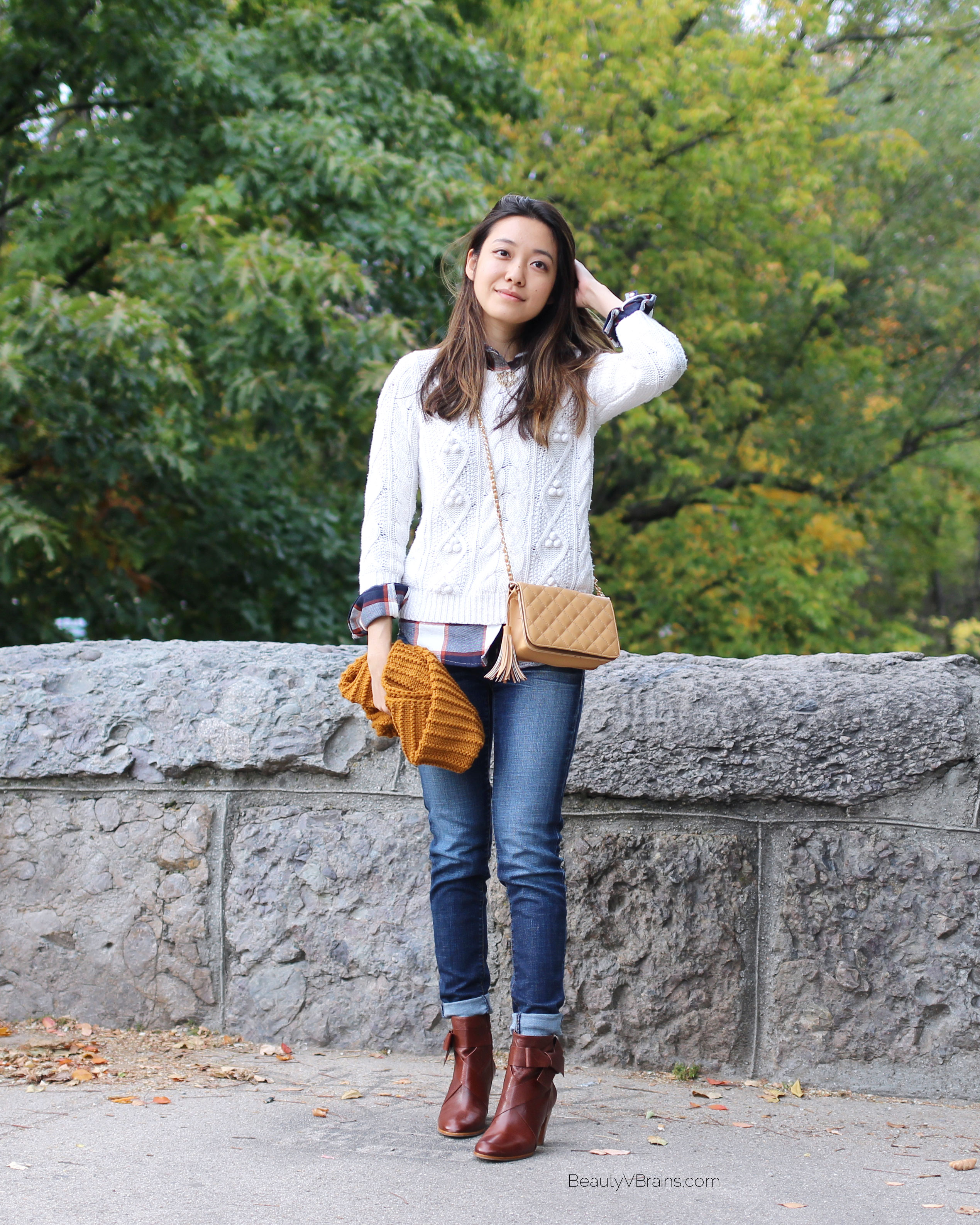 Cute fall outfit layering ideas with bow ankle boots