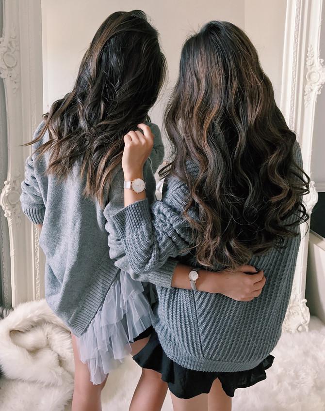 wendys lookbook extra petite_cozy sweaters dark hair balayage
