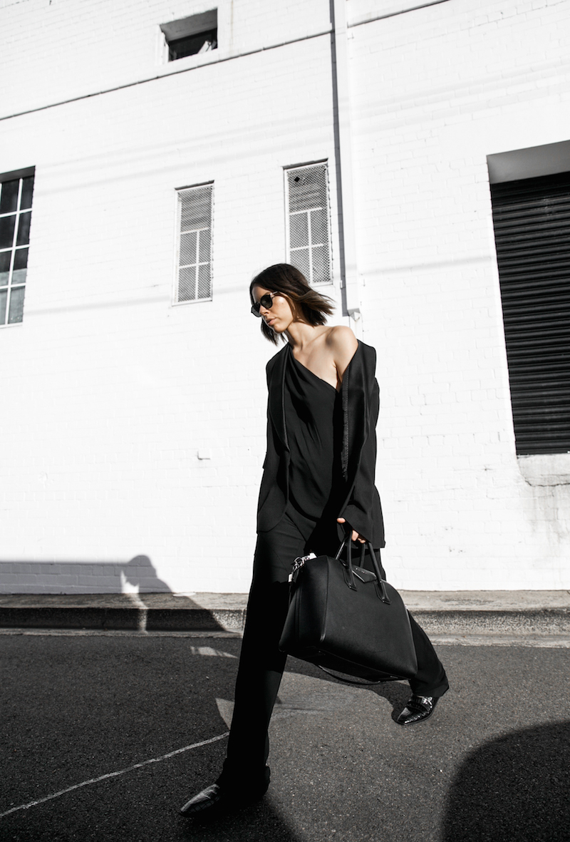 Givenchy one shoulder trend jumpsuit all black street style inspo fashion blogger Antigona minimal modern legacy yoox (10 of 13)