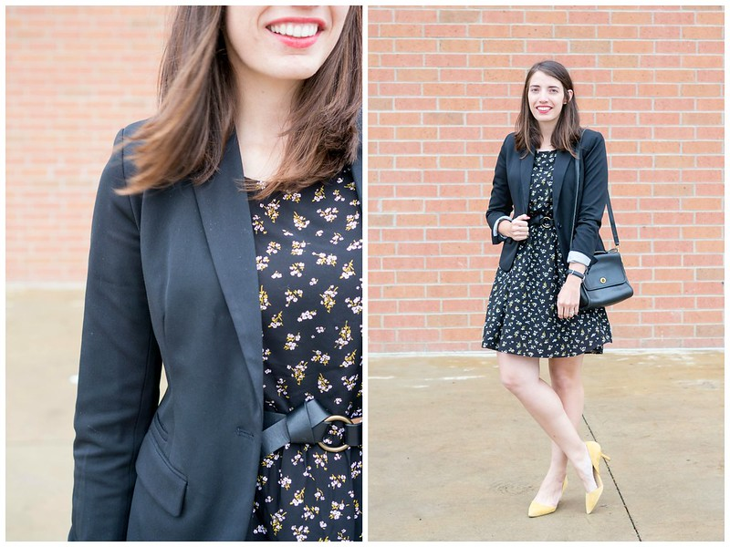 black floral dress + black Merona blazer + yellow sole society heels; fall work outfit | Style On Target blog