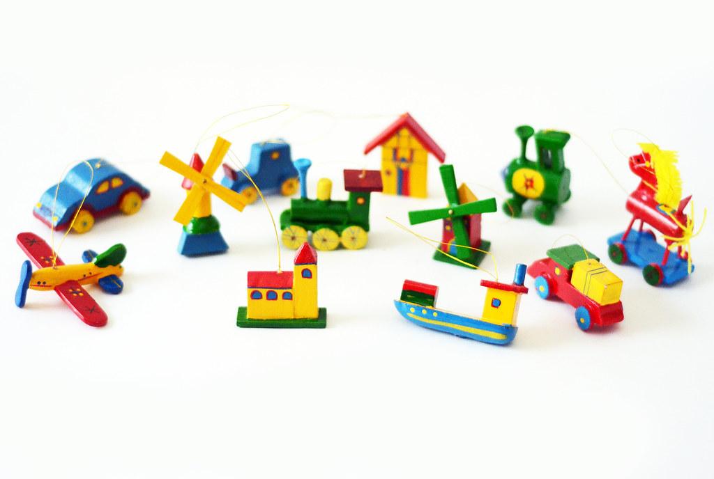 Twelve Vintage Children's Toy Ornaments
