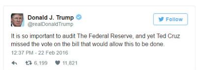 Un tweet di Donald Trump del febbraio scorso nel quale auspicava una revisione della Fed