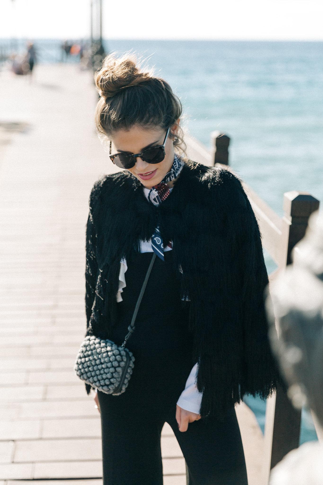 Jessie Chanes Seams for a desire - black jumpsuit ruffled white top abbacino marbella club -7