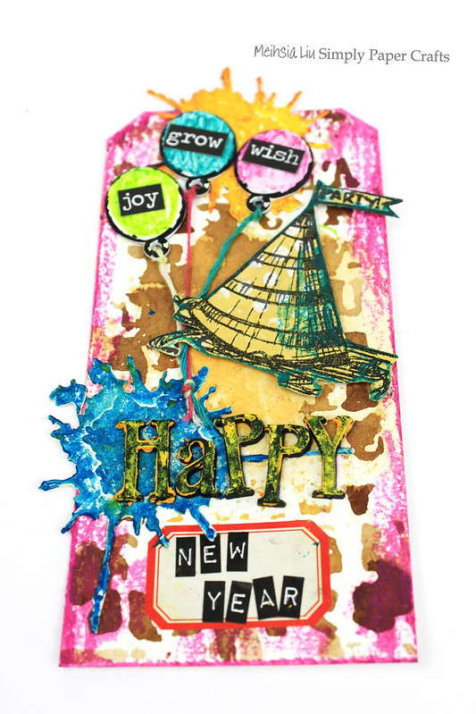 Meihsia Liu Simply Paper Crafts Mixed Media Tag Party Simon Says Stamp Monday Challenge Tim Holtz