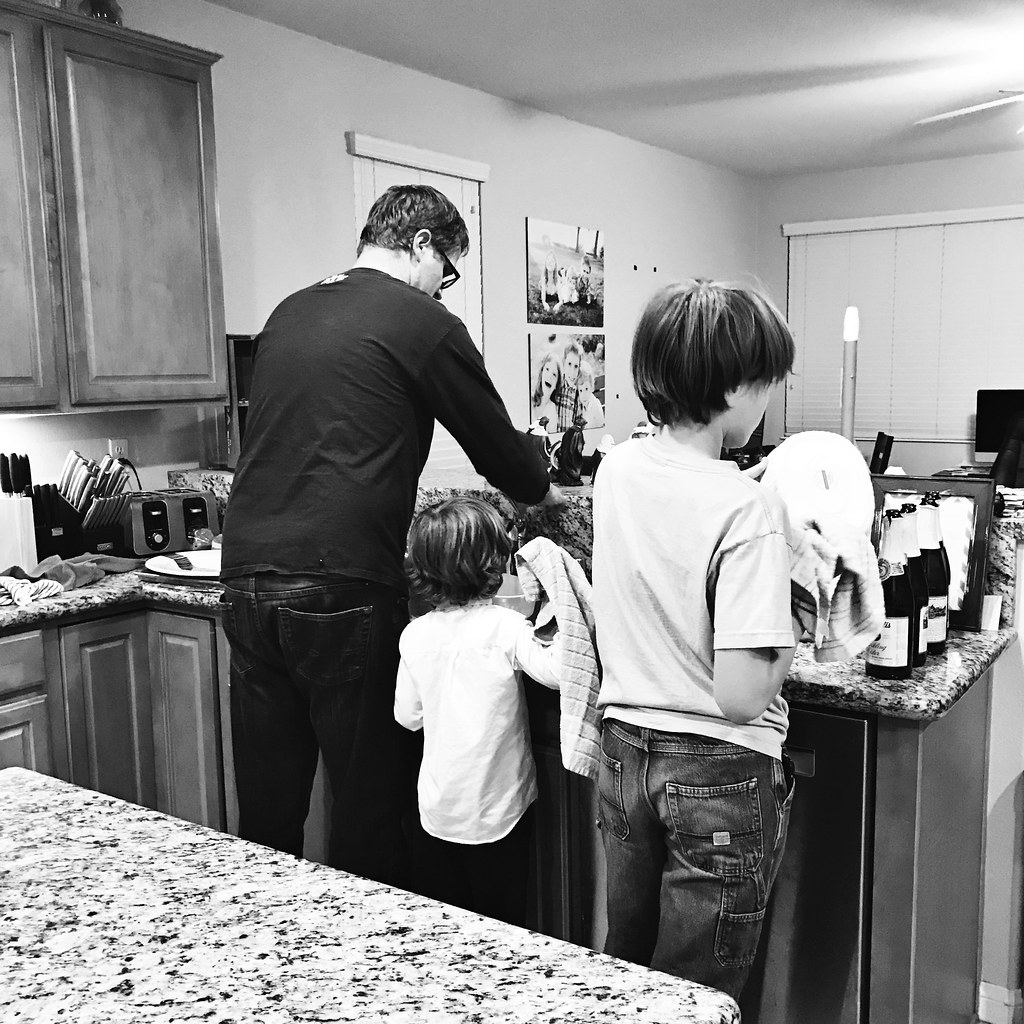 Boys doing the dishes