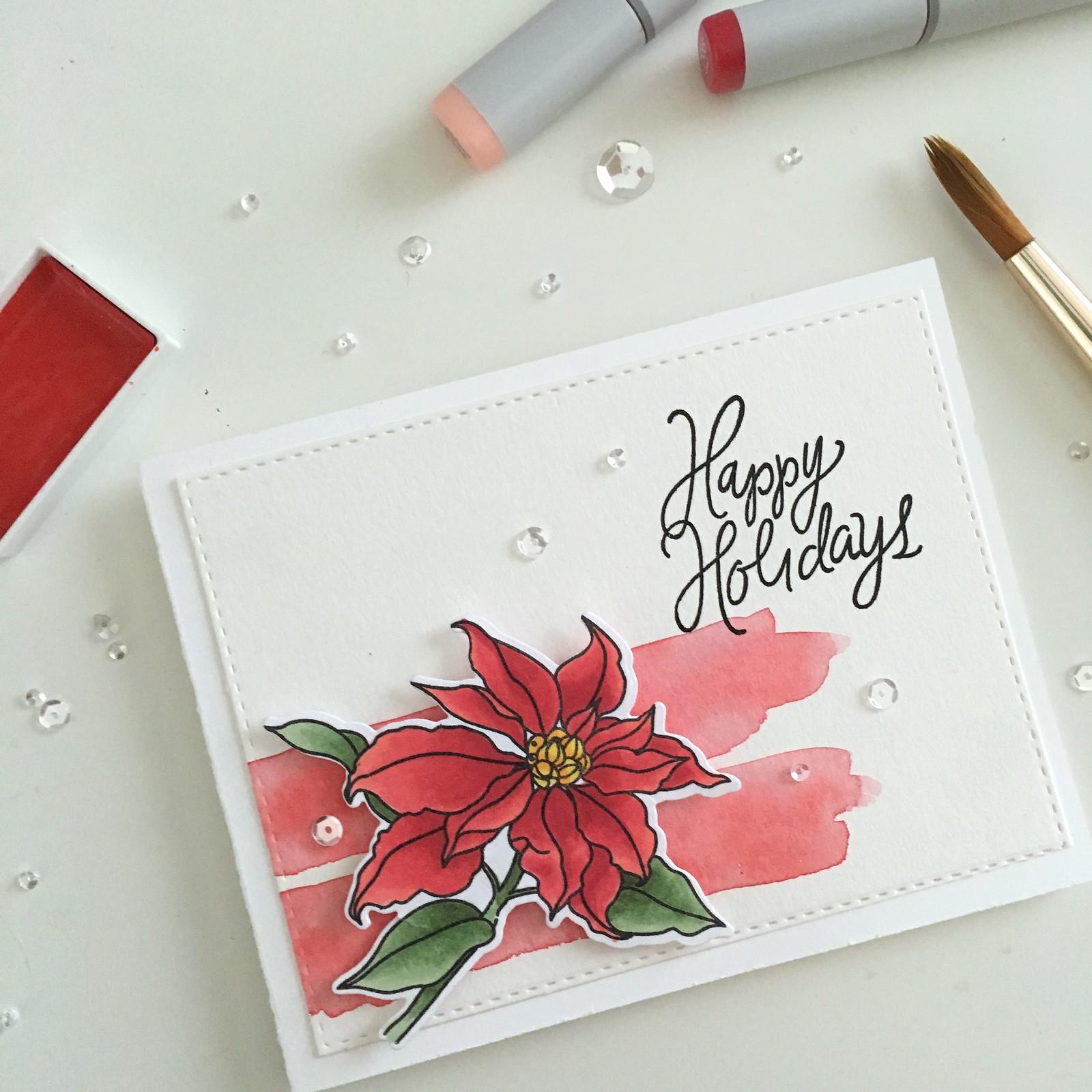 Mama Elephant Poinsettia Holiday Card