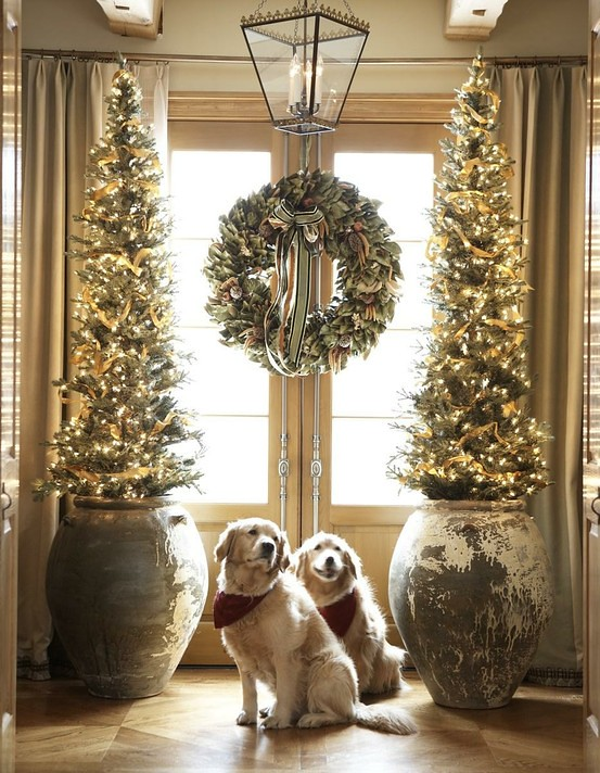 Slim Christmas Trees with Dogs
