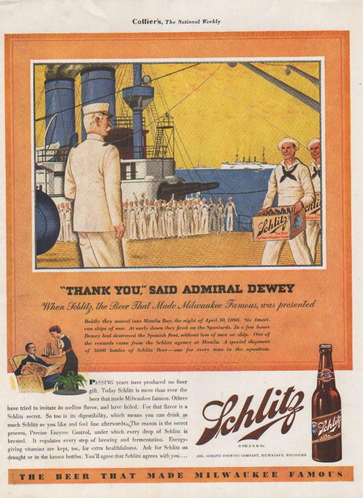 1935-Schlitz-beer-ad-Thank-YouSaid-Admiral-DeweyAfter
