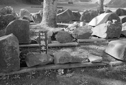 Stones of broken stone wall