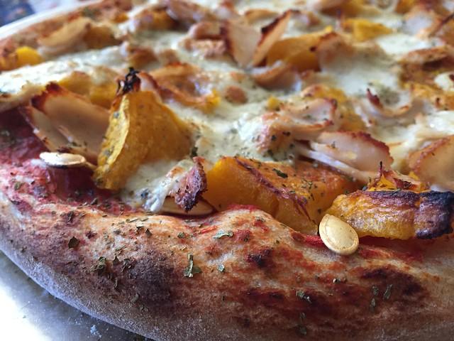 Roasted pumpkin/pepitas/Turkey Pizza