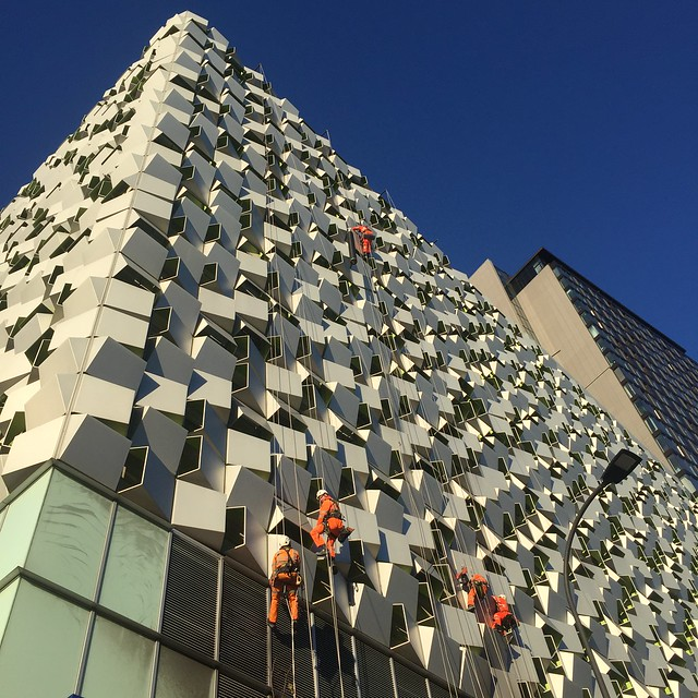 Cheese grater in Sheffield being cleaned on a sunny day