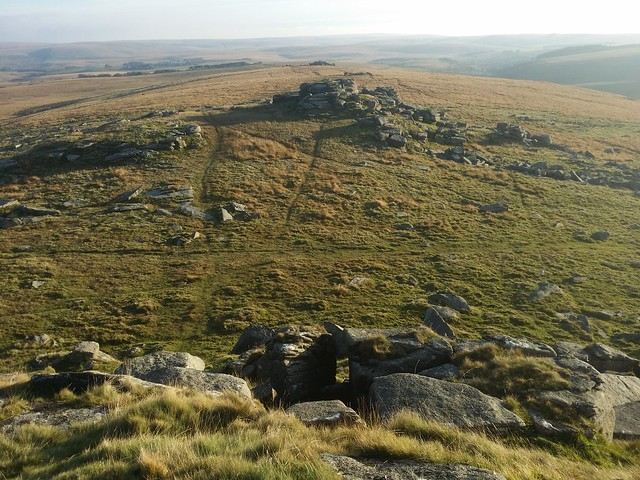 View south along the ridge from Longaford Tor