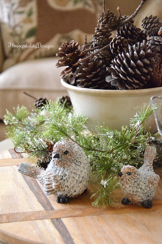 Woodland Vignette - Ironstone Bowl - Pinecones - Winter Birds - Housepitality Designs