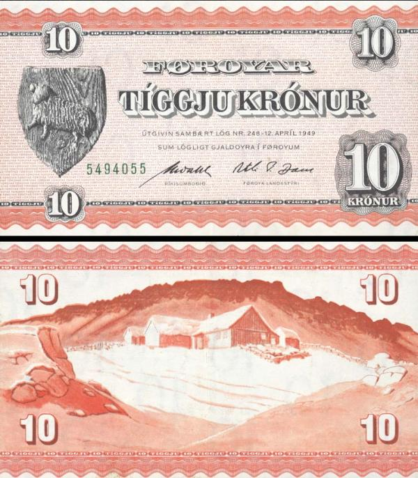 10 kronur Faerské Ostrovy 1949, P14d