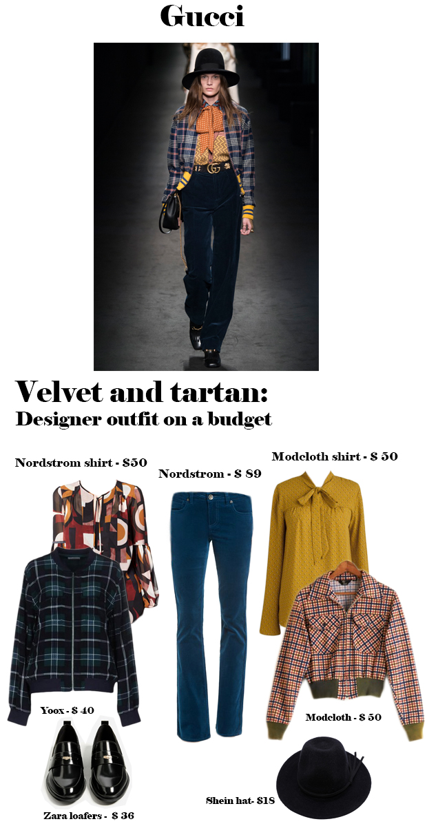 velvet and tartan outfit on a budget