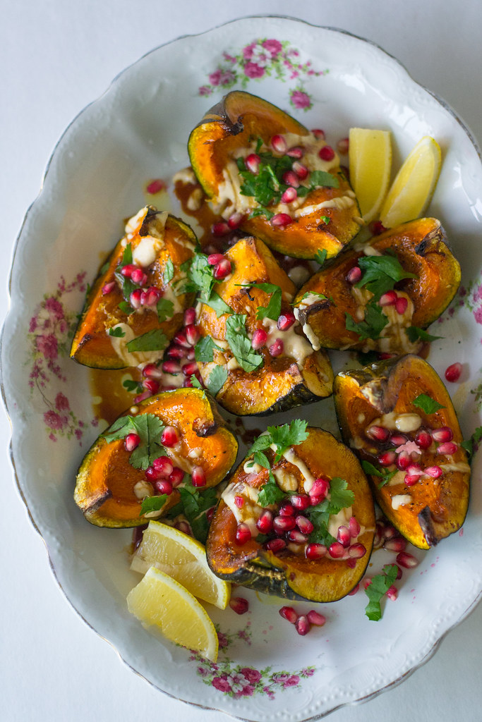Roasted Kabocha Squash with Pomegranate Molasses and Tahini