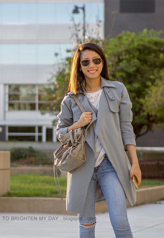 blue gray drape trench jacket, lace tee, lightwash distressed jeans, gray tote