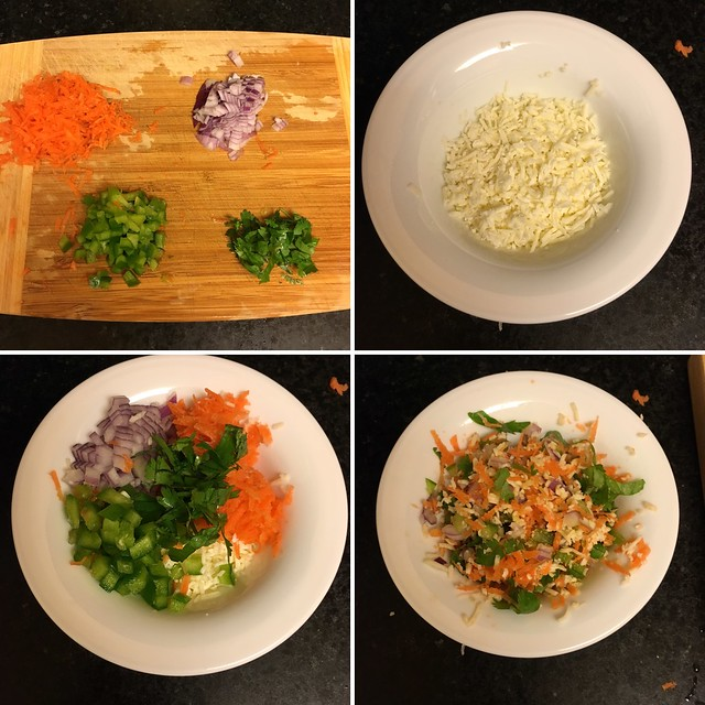Step by step preparation of veggie cheese sandwich
