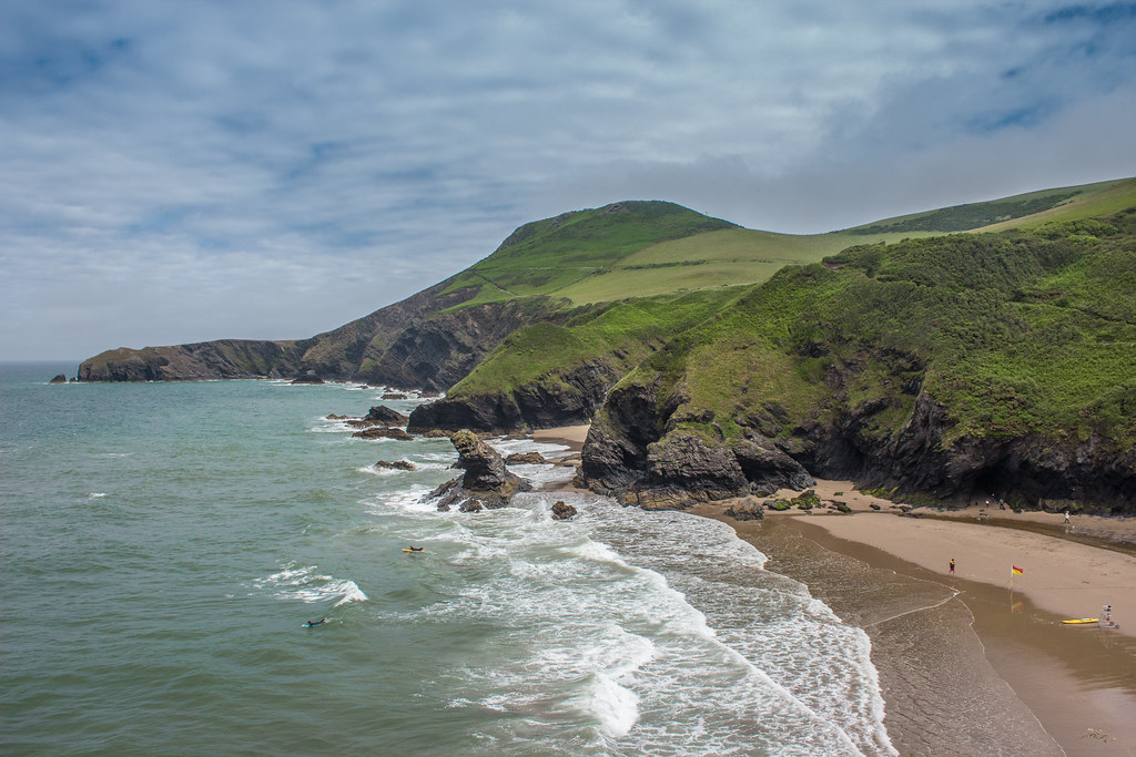View over Llangrannog beach